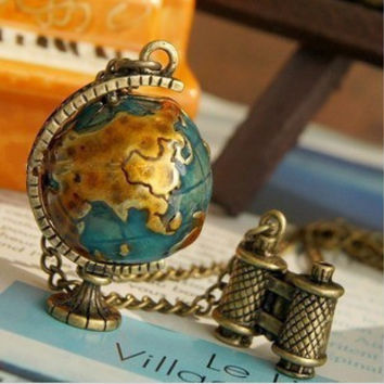 RN-025 Fashion Jewelry For Women Personality Vintage Miniature Telescope Global Travel Globe Necklace