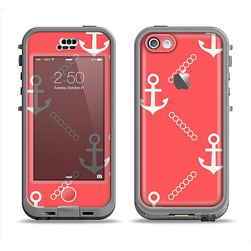 The Coral & White Vintage Solid Color Anchor Linked Apple iPhone 5c LifeProof Nuud Case Skin Set