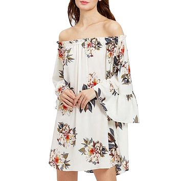 Butterfly Off Shoulder Autumn Dresses Women Casual Long Sleeve Printed Chiffon A-Line Dress vestido de festa
