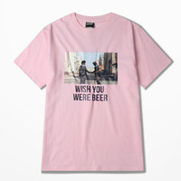 High Street Red Net Style T-shirt Man Wish You Were Beer Print Loose Pink Funny T Shirt Man