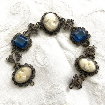 Antique Cameo Bracelet, Cannetille Wire Work, Cobalt Glass Stones, Antique Cameo Jewelry