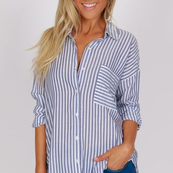 Single Pocket Striped Button Up Blue / White