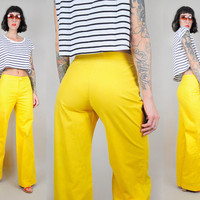 Yellow 70's PALAZZO pants Bell Bottom High waist Woven Tailored Hippie bohemian xs / small