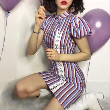 Sexy tri-color striped buckled cheongsam dress [3880969863265]