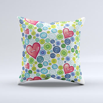 Vintage Vector Heart Buttons Ink-Fuzed Decorative Throw Pillow