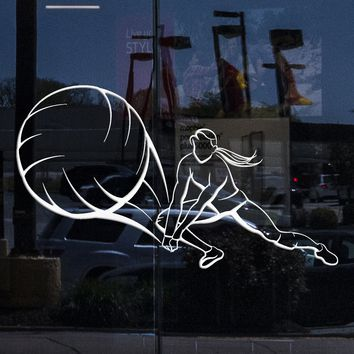 Window, Glass and Wall Sticker Sport Volleyball Player Girl Female Woman Vinyl Decal Unique Gift (z3048w)