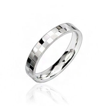 Mirror Ball - FINAL SALE Polished silver stainless steel square checkerboard ring