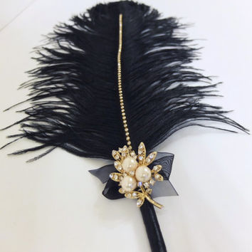 Large Elegant Black Feather Pen with Gold Color Pearl Brooch / Wedding Signing Pen / Guest Book Pen / Wedding Reception Accessories /