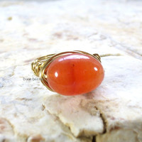 Carnelian ring, orange ring, wire wrapped ring, size 6 ring, bronze wire wrapped ring, semiprecious gemstone, natural stone jewelry