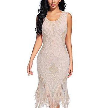 Women's Flapper Dress 1920s Beaded Sequin Fringed Great Gatsby Dress