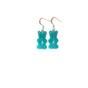 Gummy Bear Earrings, Blue Dangle Earrings, Gummybear Accessory, Candy Jewelry, Girls Jewelry, Teen Tween Jewellery, Pastel Goth, Kawaii