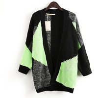 Mix-color Loose Knitted Long Sweater Splice Cardigans