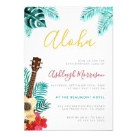 Watercolor Ukulele | Tropical Birthday Luau Party Card