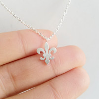 Silver Fleur-De-Lis & World Scout Emblem Pendant Necklace