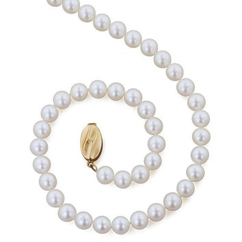 "Honora 6-7mm 18 Inch ""Classic White Pearl Necklace"" with Freshwater Cultured Pearls and 14K Gold Clasp"