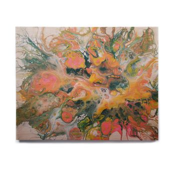 "Carol Schiff ""Coral And Peach"" Coral Green Abstract Contemporary Mixed Media Painting Birchwood Wall Art"
