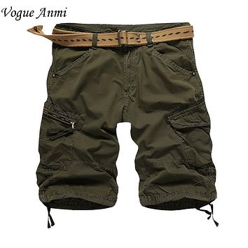 Vogue Anmi.mens shorts casual 2016 summer new fashion brand men shorts cotton loose cargo shorts bermuda men plus size 36 38 40