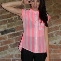 Neon Pink Stripe Shirt from Coco Boo Loves