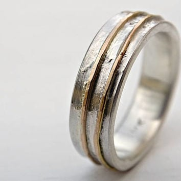 contemporary wedding ring molten, mens wedding band silver gold, rustic mens ring, viking wedding ring mixed metal, unique engagement ring