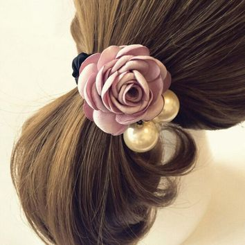 6 Color Elastic Hair Bands Hot New Women Satin Ribbon Rose Flower Pearls Hairband Ponytail Holder Hair Band Valentine's Gifts