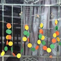 10 Feet Long Paper Circle Dots Hanging Decoration String Paper Garland Wedding Birthday Party Baby Shower Background Decorative - Orange & Green