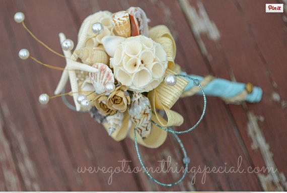 Beach Theme Nautical Brooch Bouquet Sola Wood Sea Shell Starfish Rustic Aqua Blue Paper Rope Twine
