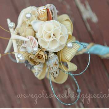 Beach Theme Nautical Brooch bouquet Sola Wood Sea shell Starfish Rustic Aqua blue paper Rope twine balsa bridal bridesmaid prom flower pearl