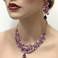 Wedding  jewelry set, Marsala crystal Necklace earrings , purple rhinestone necklace statement, crystal jewelry set, Formal Gold jewelry set