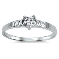 .925 Sterling Silver Heart Ring Size 5-10 Ladies and Girls Clear White CZ