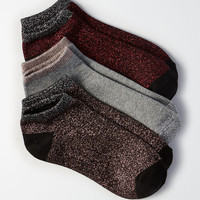 AEO Metallic Shortie Socks 3-Pack, Red