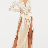 Champagne Satin Extreme Split Waist Tie Shirt Maxi Dress