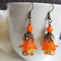 Marmalade Orange Lucite Floral Czech Glass Earrings Antiqued Brass Ear Accessory. Nature Spring Summer Autumn Fall Inspired