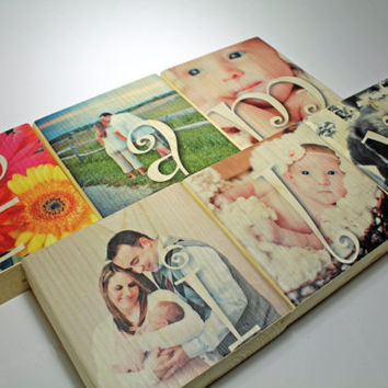 "Photo Gift: FAMILY Personalized Photo Set of six 5.5"" x 5.5"" x 1.5 blocks, solid wood, Wedding, Couples, Baby, Home Decor, House Warming"