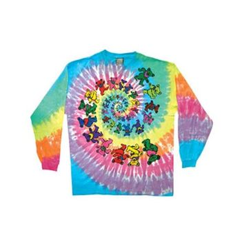 Grateful Dead Men's Spiral Bears Tie Dye Long Sleeve Multi - Walmart.com