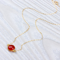 Carnelian Necklace, Single Stone Necklace, Carnelian Jewelry, Gold Filled Necklace, Carnelian Pendant, Red Stone Necklace, | 0230NM