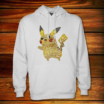 pokemon pikachu typography Hoodie,pokemon pikachu typography Sweater Black and White