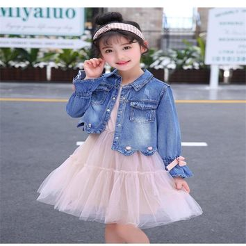 Trendy LILIGIRL Baby Vintage Tops Clothes Sets 2018 Autumn Kids Denim Jackets Princess Lace Dress for Girls Elegant Coat Costume Suit AT_94_13