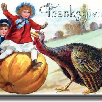 Vintage Thanksgiving, Boy and Girl on Pumpkin Picture on Acrylic , Wall Art Décor, Ready to Hang