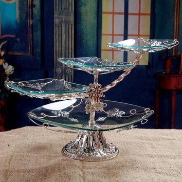 Luxurious  Tier Fruit Bowl - Cake Stand, Creative Glass European Style, Suitable For Any Party