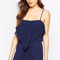 Dark Blue Sleeveless Ruffled Layer Romper