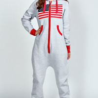 Miley USA Flag Embroidered Hoodied Onesuit