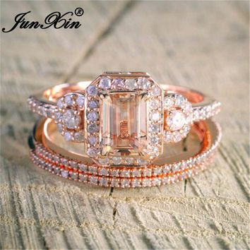 JUNXIN 3pcs/Set Luxury Square Champagne Zircon Engagement Ring Sets For Women 18KT Rose Gold Filled Crystal Stackable Midi Ring