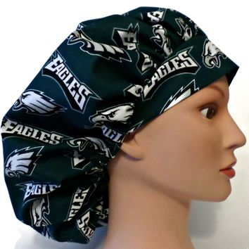 Women's Bouffant Surgical Scrub Hat Cap in Philadelphia Eagles w/ Elastic and Cord-Lock