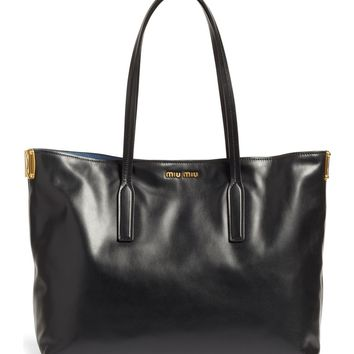 Miu Miu Large Calfskin Leather Shopper | Nordstrom