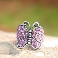 Vintage Silver Tone Full Rhinestone Butterfly Animal Ring
