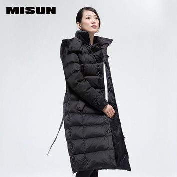 MISUN 2017 womens down jackets wave cut slim thermal lacing thickening stand collar X-long hooded coat with pockets MSD-G703