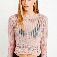 Cooperative Pointelle Border Crop Sweater - Urban Outfitters