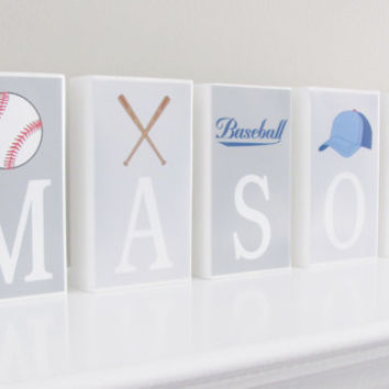 Baseball Name Blocks, Baseball Nursery, Sport Blocks, Baby Gift, Baby Shower, Baby Boy, Nursery Boy Letters, Sport Name Blocks, Photo Prop