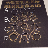 Set of 3 tiny nose ring/ cartilage hoops, gold tone, silver tone, or both!