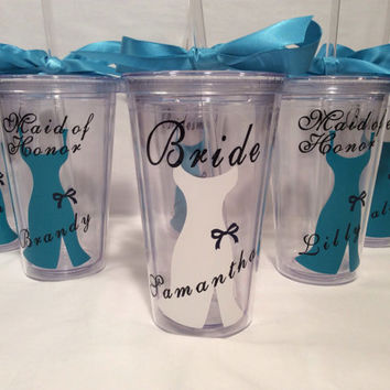 8 Bridesmaid tumbler gift set wedding party gift acrylic tumbler cups